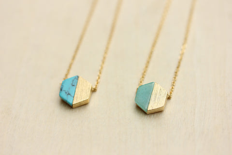 Gemstone Split Hexagon Necklace