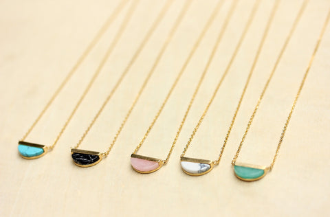 Gemstone Split Half Circle Necklace