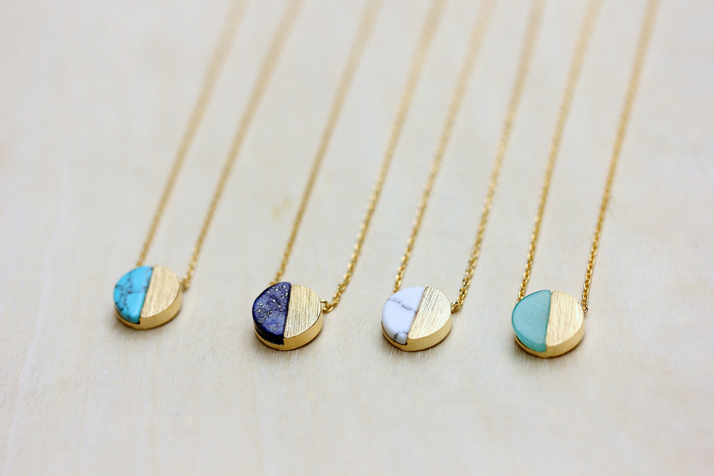 Dainty real gem stone gold circle necklaces from Diament Jewelry, a gift shop in Washington, DC.
