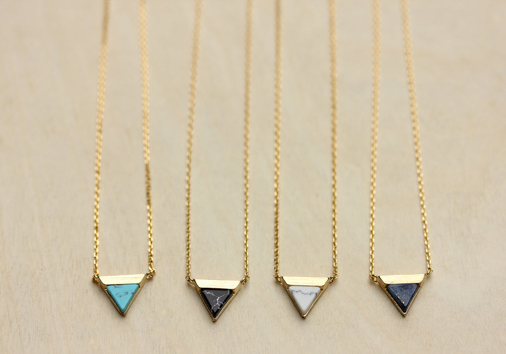 Dainty real gem stone gold split triangle necklace from Diament Jewelry, a gift shop in Washington, DC.