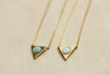Gemstone Opal Triangle Necklace