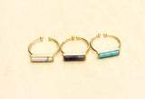 Gemstone Split Bar Ring