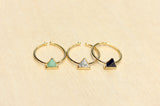 Gemstone Split Ring Triangle
