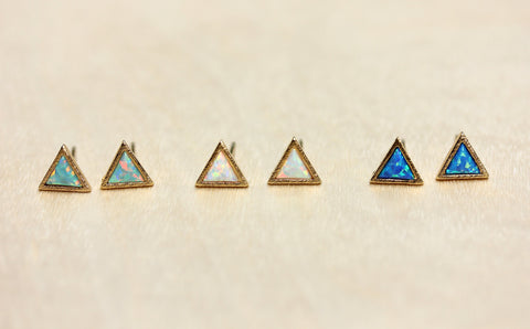 Gemstone Split Studs Opal Triangle