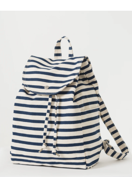 Baggu Sailor Stripe Drawstring Canvas Backpack from Diament Jewelry, a gift shop in Washington, DC.