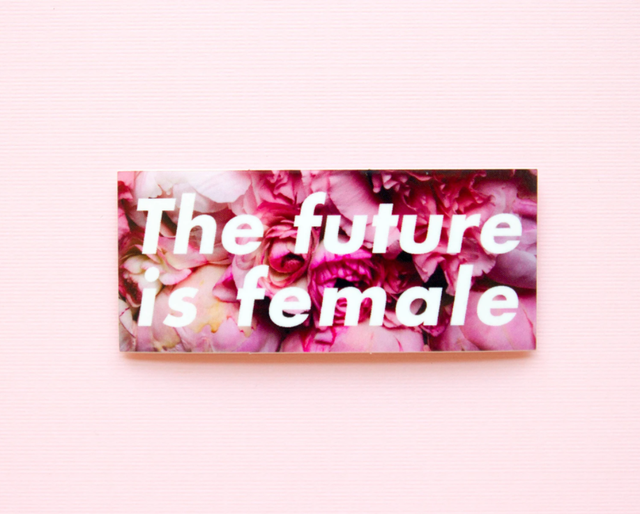 Little Woman Goods The Future is Female Sticker from Diament Jewelry, a gift shop in Washington, DC.