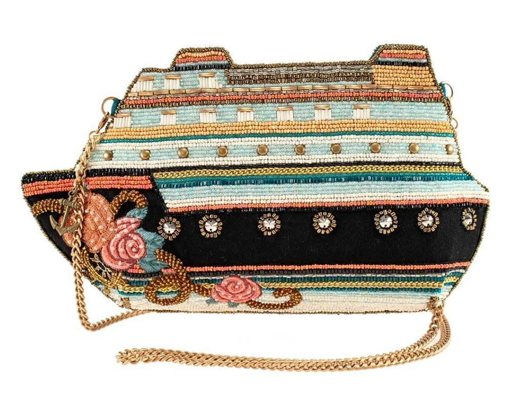Mary Frances Cruise Control Beaded Cruise Ship Crossbody Handbag from Diament Jewelry, a gift shop in Washington, DC.