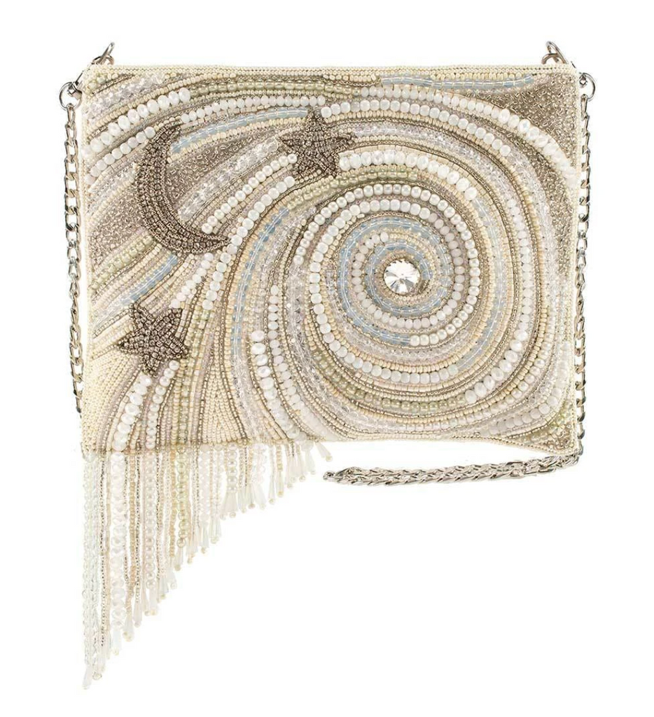 Mary Frances Ivory Galactic Beaded Crossbody Celestial Handbag from Diament Jewelry, a gift shop in Washington, DC.