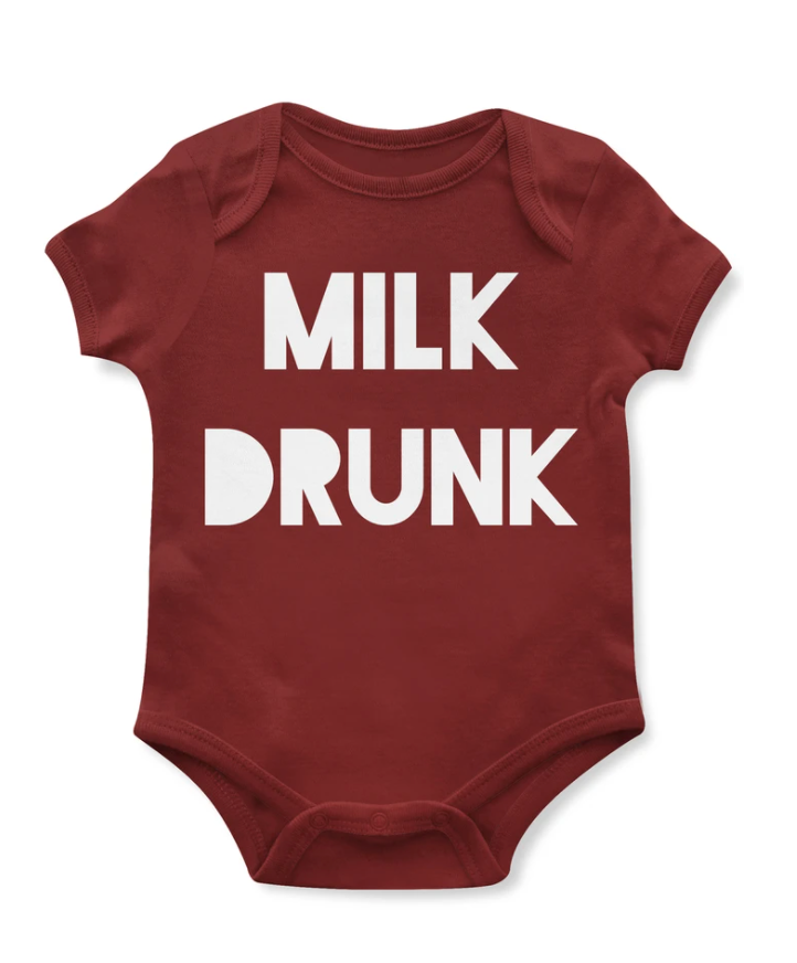 Emerson and Friends Milk Drunk 3-6 Months Baby Onesie from Diament Jewelry, a gift shop in Washington, DC.
