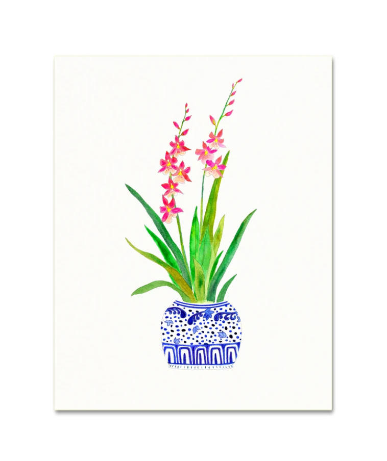 Snoogs and Wilde Ginger Jar Orchid No. 1 Art Print from Diament Jewelry, a gift shop in Washington, DC.