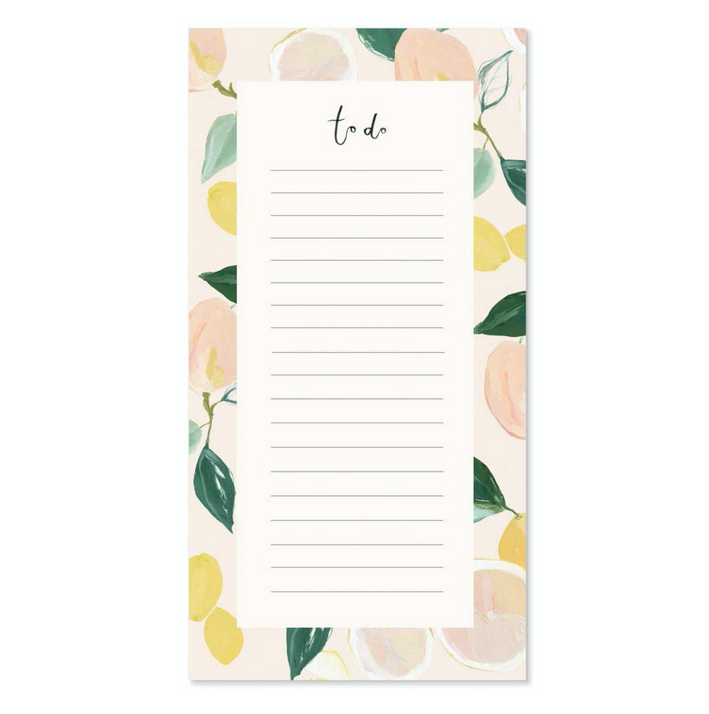 Our Heiday Citrus To Do Notepad from Diament Jewelry, a gift shop in Washington, DC.