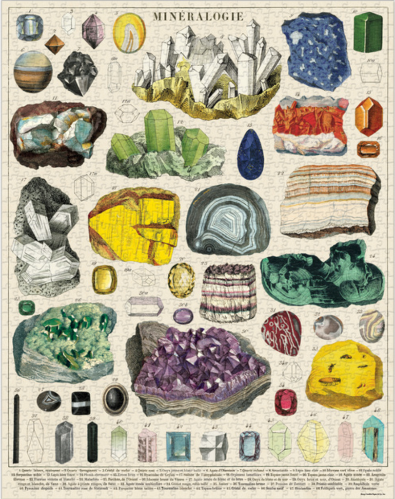 Cavallini and Co. Mineralogy 1000 piece vintage puzzle from Diament Jewelry, a gift shop in Washington, DC.