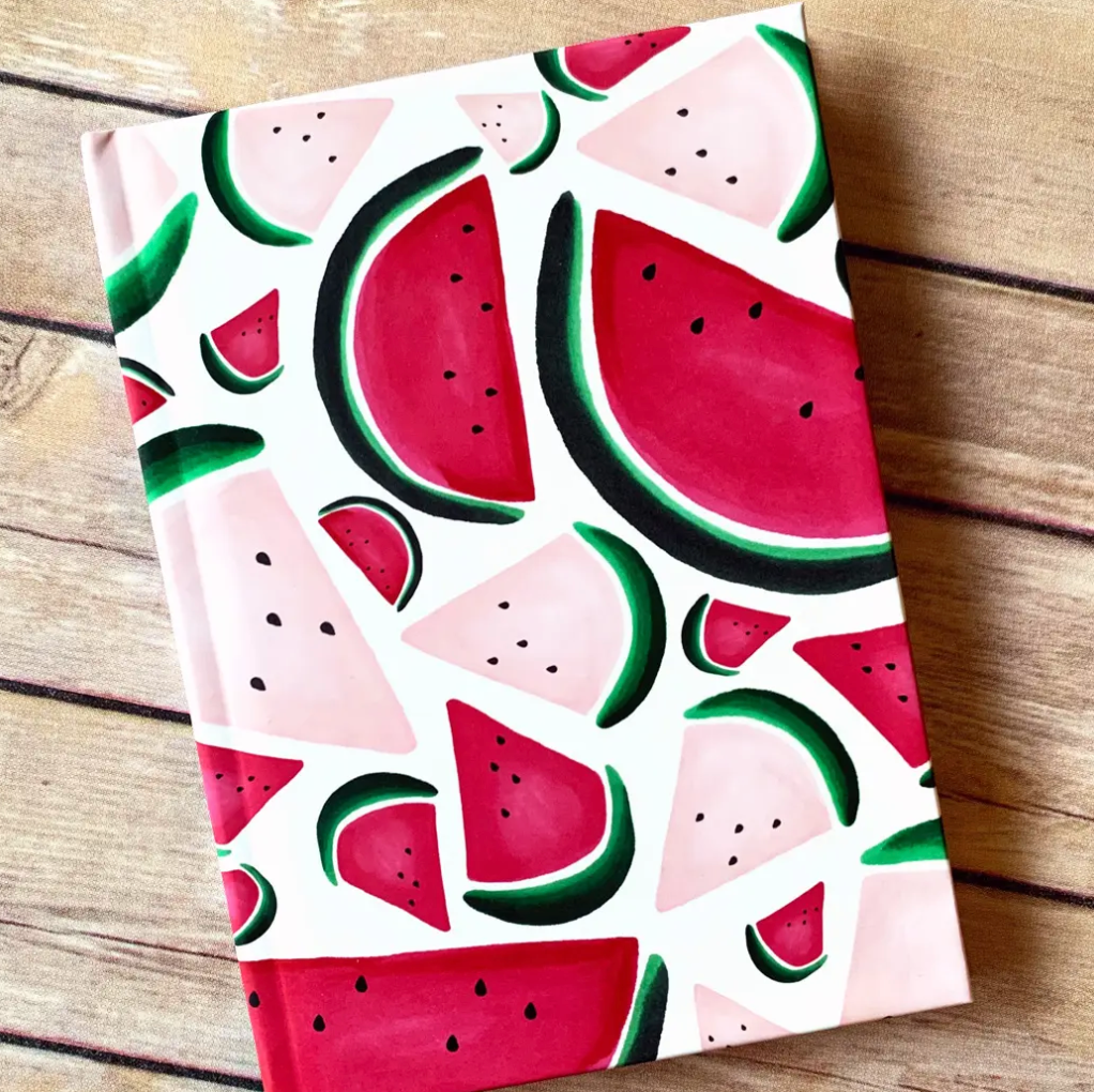 Short Pockets Stationery Watermelon Journal from Diament Jewelry, a gift shop in Washington, DC.