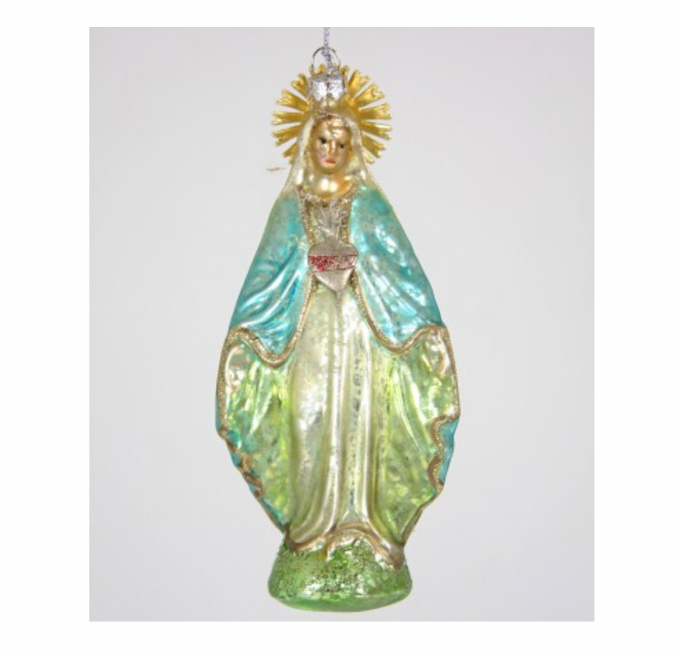 Mother Mary holiday ornament from Diament Jewelry, a gift shop in Washington, DC.