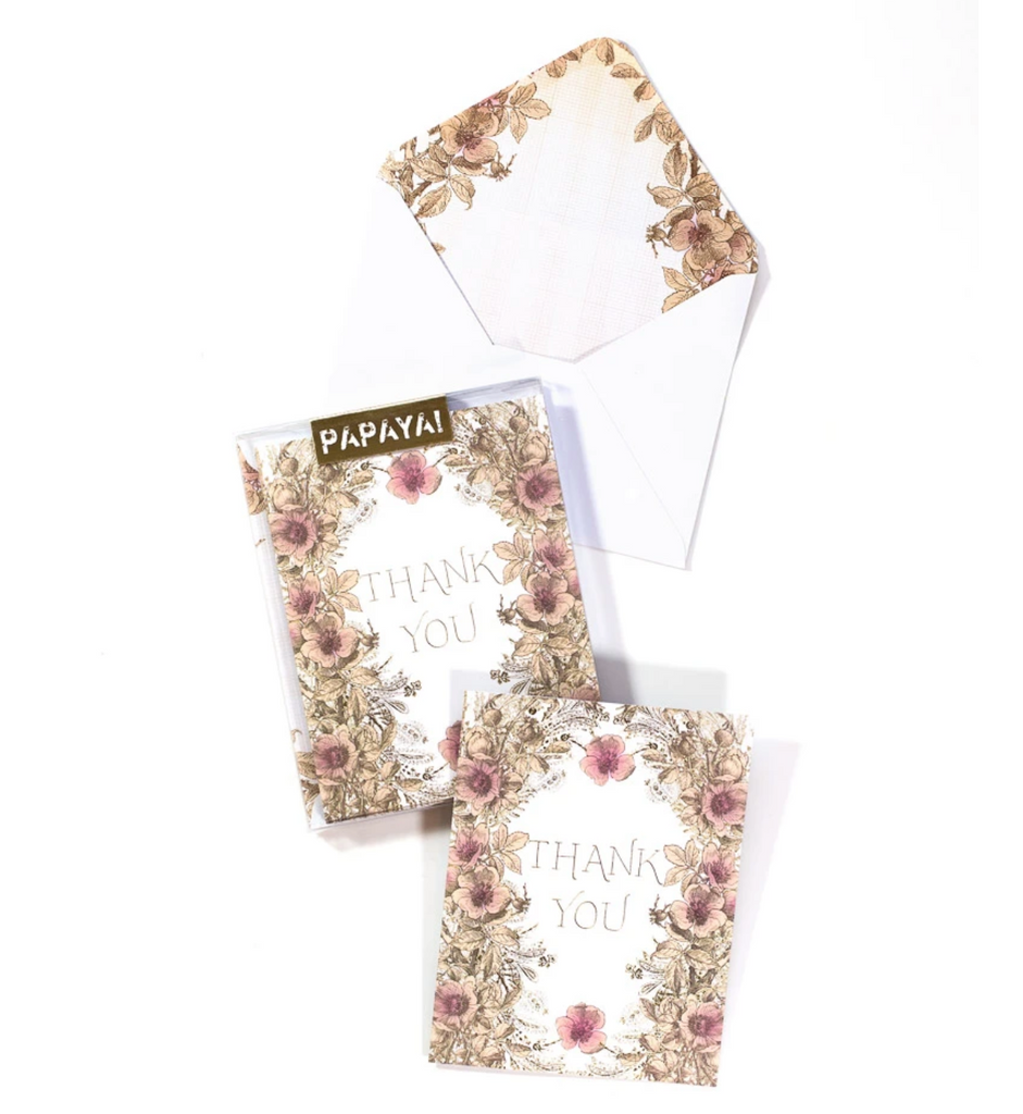 Flower Border Thank You Card Set of Six from Diament Jewelry, a gift shop in Washington, DC.