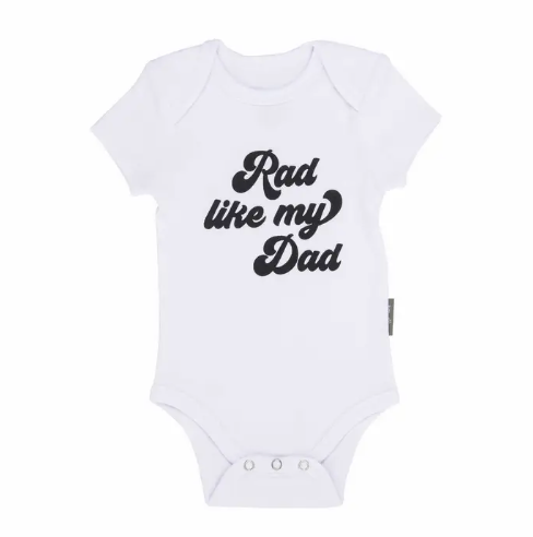Ever Ellis Rad Like My Dad White Baby Onesie from Diament Jewelry, a gift shop in Washington, DC.