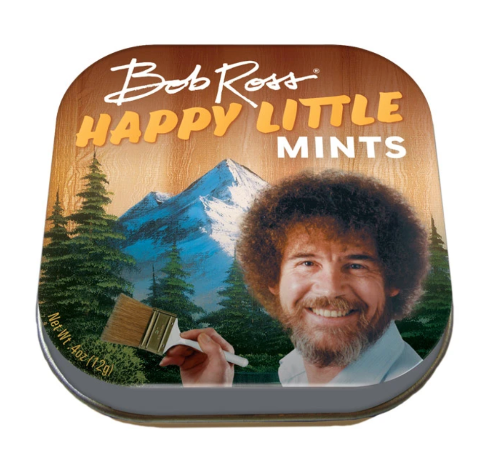Unemployed Philosophers Guild Bob Ross Happy Little Mints from Diament Jewelry, a gift shop in Washington, DC.