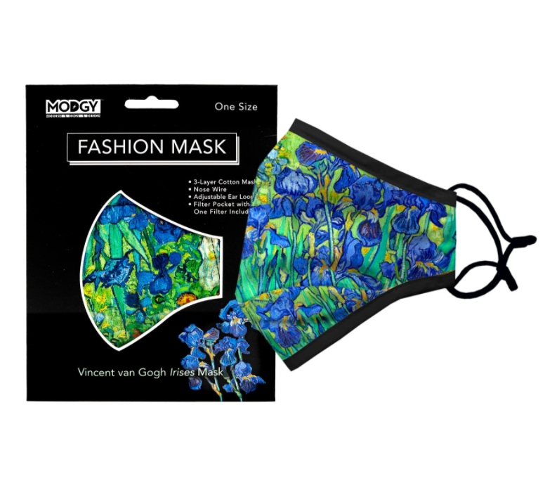 Modgy Van Gogh Irises protective face mask from Diament Jewelry, a gift shop in Washington, DC.
