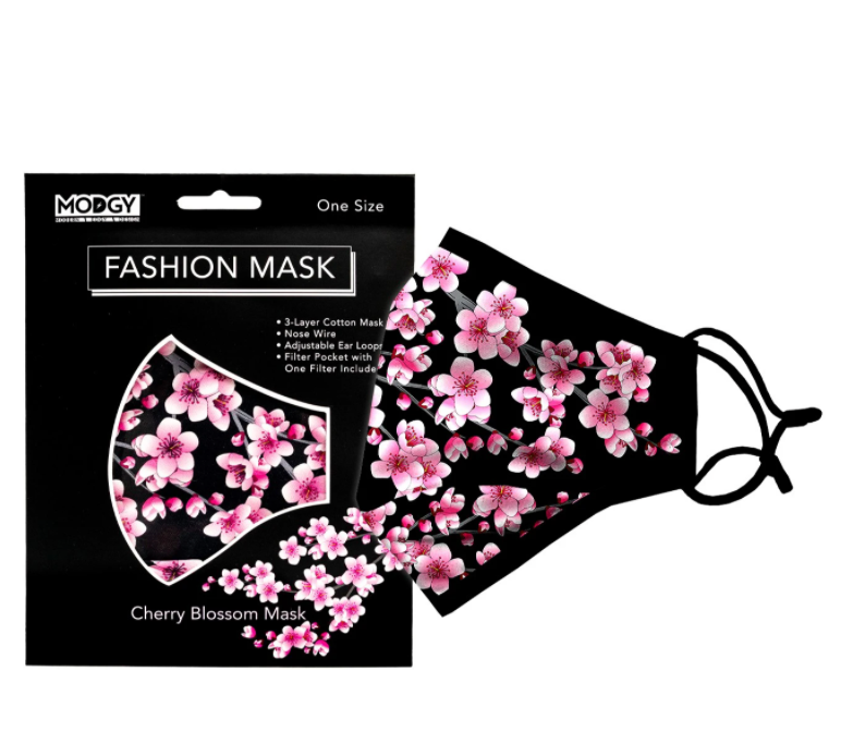Modgy Cherry Blossom protective face mask from Diament Jewelry, a gift shop in Washington, DC.