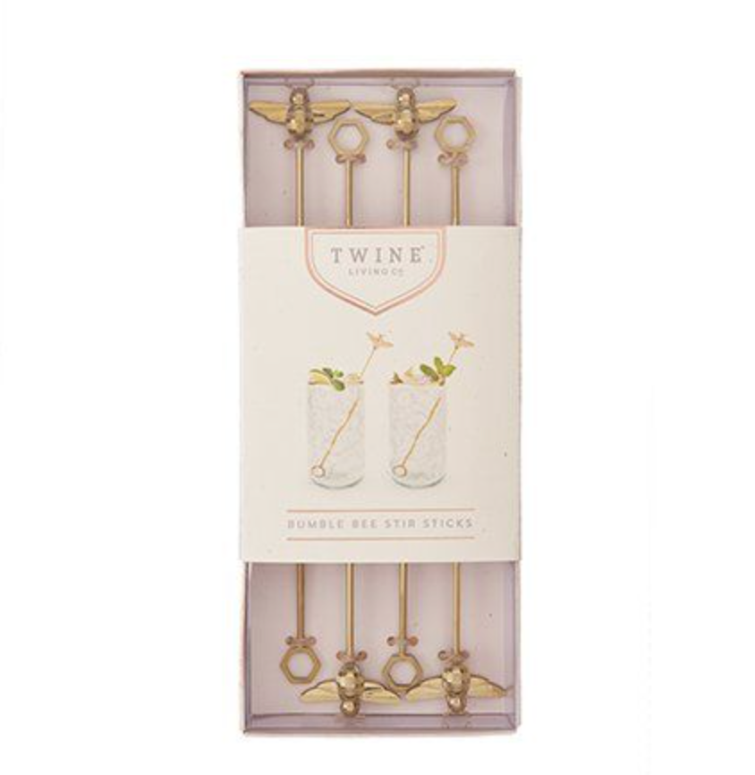 Twine bumble bee stir sticks from Diament Jewelry, a gift shop in Washington, DC.