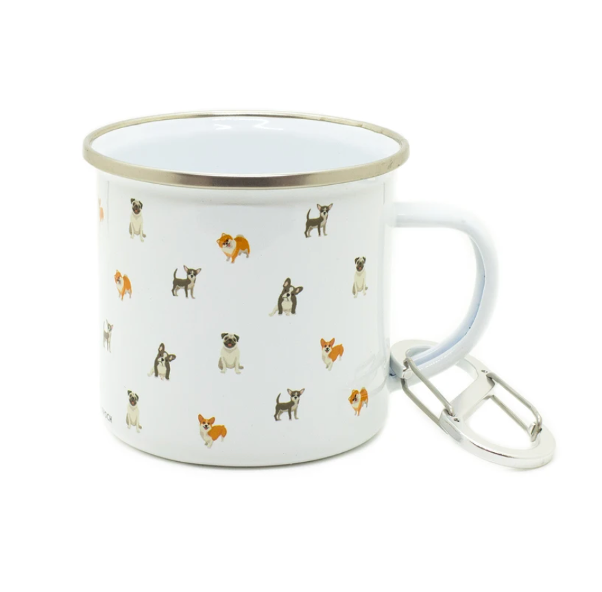 Dog Camping Mug from Diament Jewelry, a gift shop in Washington, DC.