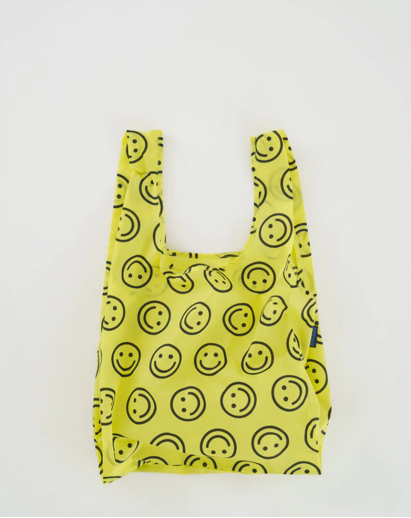 Baggu smiley face reusable bag from Diament Jewelry, a gift shop in Washington, DC.