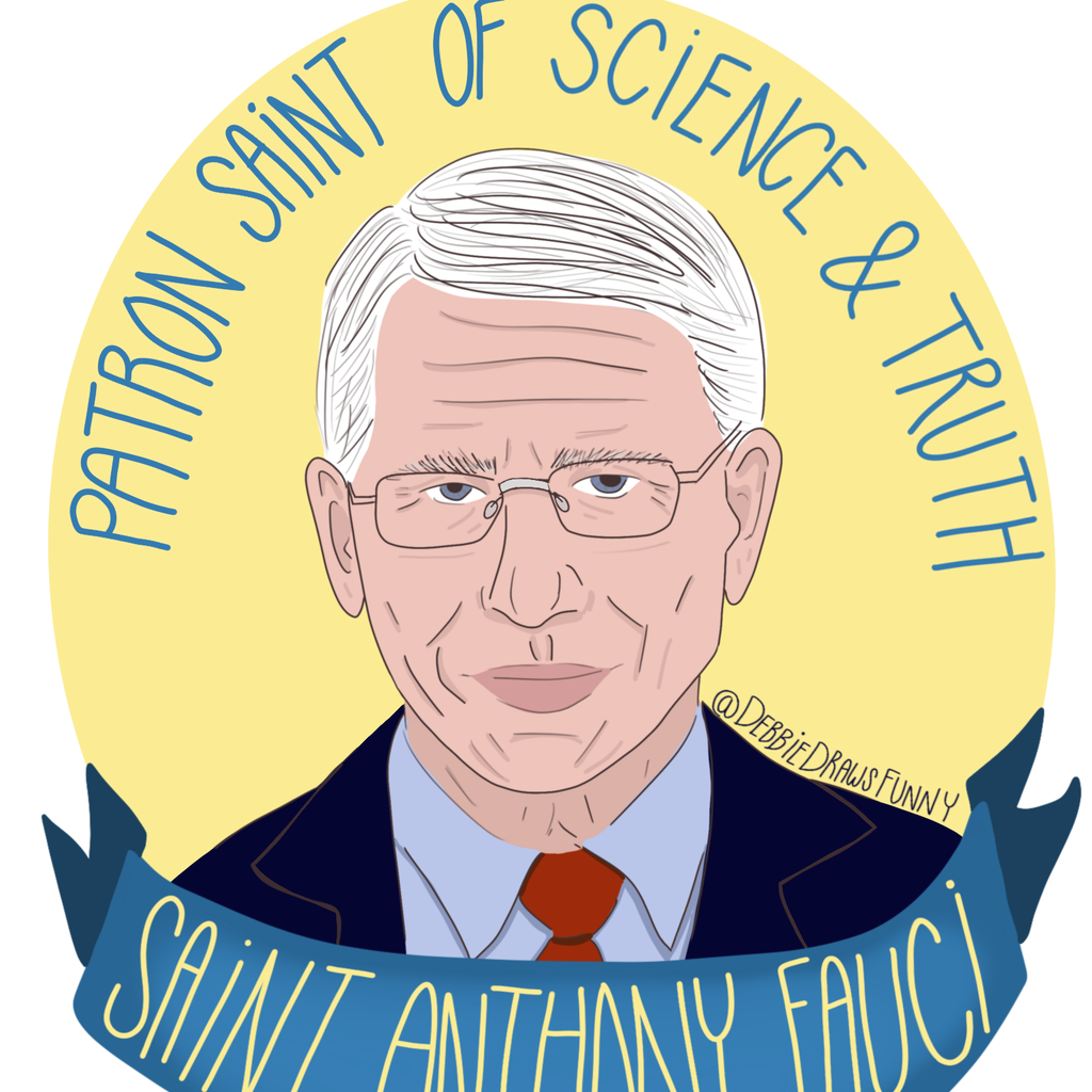 Patron Saint of Science and Truth Saint Anthony Fauci sticker from Diament Jewelry, a gift shop in Washington, DC.