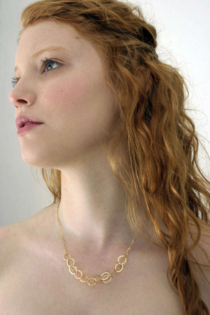 Delicate gold circles necklace from Diament Jewelry, a gift shop in Washington, DC.