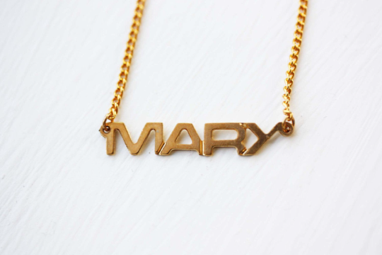 Vintage Mary gold name necklace from Diament Jewelry, a gift shop in Washington, DC.