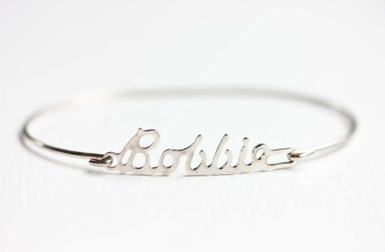 Vintage Bobbie silver name bracelet from Diament Jewelry, a gift shop in Washington, DC.