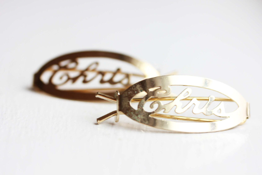 Vintage Chris gold hair clips from Diament Jewelry, a gift shop in Washington, DC.