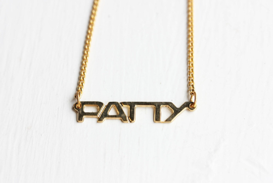 Vintage Patty gold name necklace from Diament Jewelry, a gift shop in Washington, DC.