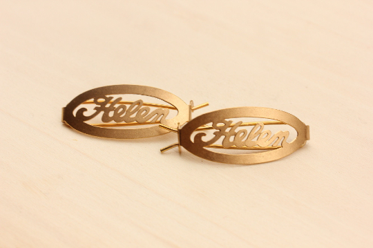 Vintage Helen gold hair clips from Diament Jewelry, a gift shop in Washington, DC.
