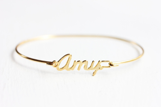 Vintage Amy gold name bracelet from Diament Jewelry, a gift shop in Washington, DC.