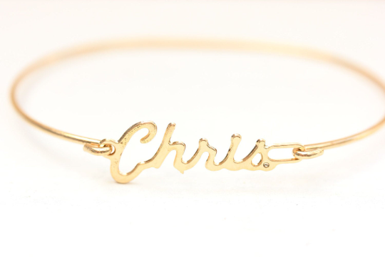 Vintage Chris gold name bracelet from Diament Jewelry, a gift shop in Washington, DC.