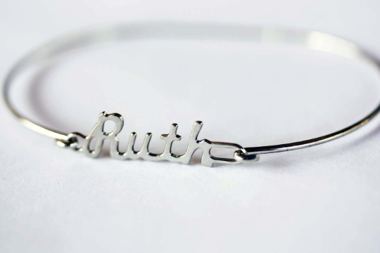 Vintage Ruth silver name bracelet from Diament Jewelry, a gift shop in Washington, DC.