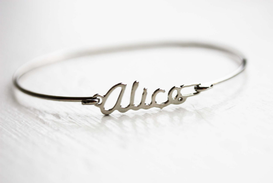 Vintage Alice silver name bracelet from Diament Jewelry, a gift shop in Washington, DC.