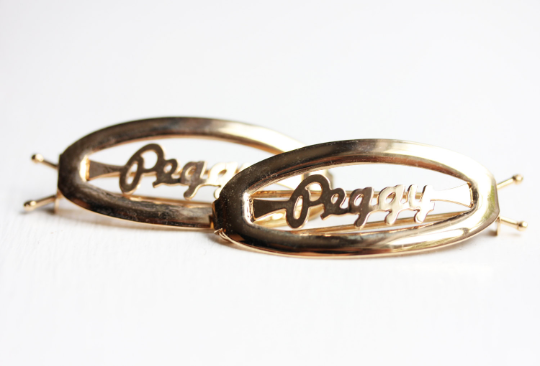 Vintage Peggy gold hair clips from Diament Jewelry, a gift shop in Washington, DC.