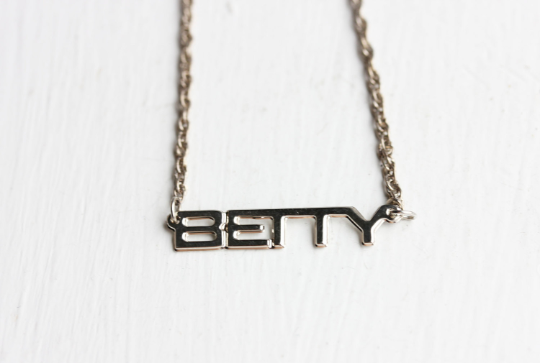 Vintage Betty silver name necklace from Diament Jewelry, a gift shop in Washington, DC.