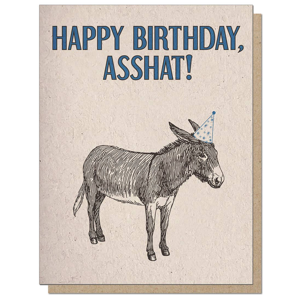Happy Birthday Asshat Card from Diament Jewelry, a gift shop in Washington, DC.