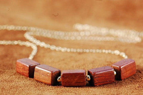 Beaded Wood Necklace - Gold