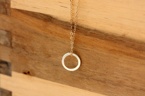 Mixed Metals Circle Necklace - Gold Chain Silver Cirlce