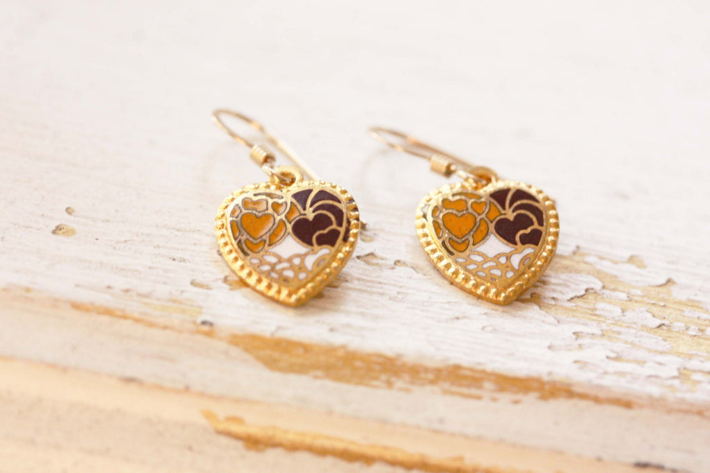 Small Gold Heart Earrings - Brown Yellow White