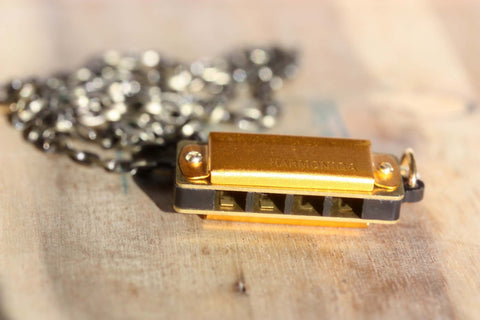 Gold Harmonica Necklace