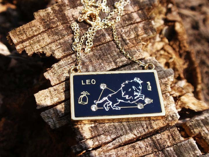 Leo zodiac gold charm necklace from Diament Jewelry, a gift shop in Washington, DC.