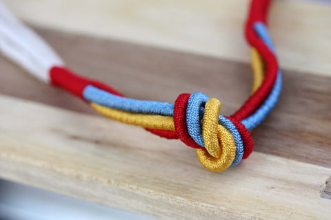Rope Knot Necklace - Red Blue Yellow