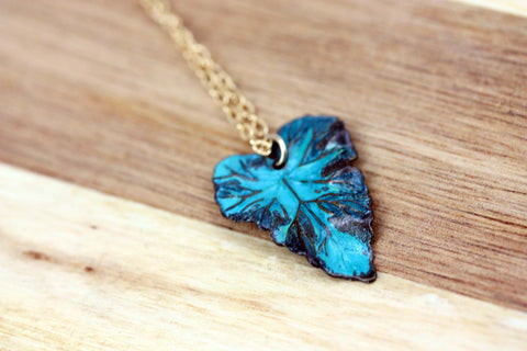 Green Patina Leaf Necklace - Gold