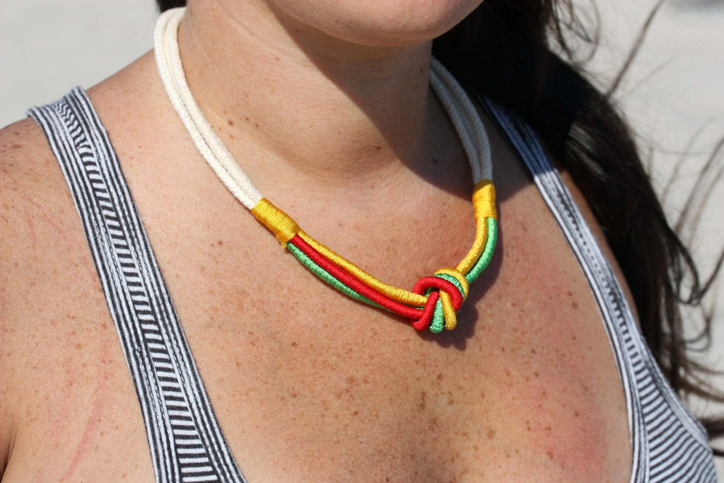 Rope Knot Necklace - Green, Yellow, Red