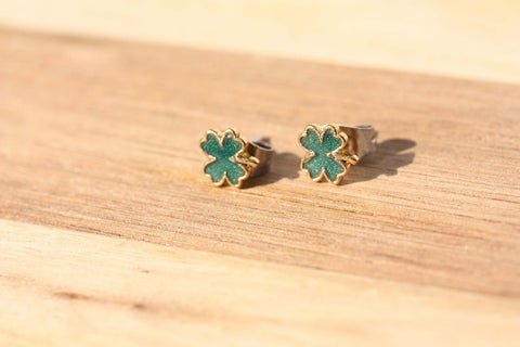 Tiny Four Leaf Clover Studs