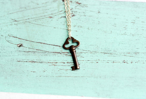 Tiny Bronze Key Necklace